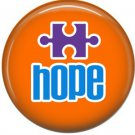 Hope on Orange, Autism Awareness 1 Inch Button Badge Pin - 0530