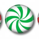 Peppermint Candy, Lot of Three 1 Inch Pin Back Buttons