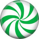 Green and White Peppermint Candy, 1 Inch Button Badge Pin - 0301