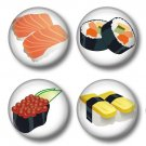Sushi, Lot of Four 1 Inch Pin Back Buttons