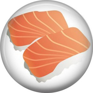 Salmon Nigiri, Sushi 1 Inch Button Badge Pin - 0296