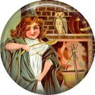 Child Stirring Cauldron, 1 Inch Button Badge Pin of Vintage Halloween Image - 0488