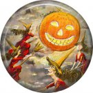 Three Witches on the Prowl, 1 Inch Button Badge Pin of Vintage Halloween Image - 0485