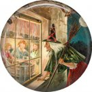 Witch Looking in Window, 1 Inch Button Badge Pin of Vintage Halloween Image - 0482