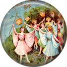 Women Dancing, 1 Inch Button Badge Pin of Vintage Halloween Image - 0464