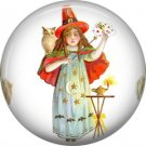 Little Magician, 1 Inch Button Badge Pin of Vintage Halloween Image - 0481