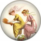 Two Ladies Flying on Broom, 1 Inch Button Badge Pin of Vintage Halloween Image - 0475