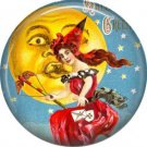 Witch Flying by Puckered Up Moon, 1 Inch Button Badge Pin of Vintage Halloween Image - 0469