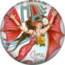 Lady with Bat Wings, 1 Inch Button Badge Pin of Vintage Halloween Image - 0463