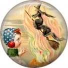 Witch in Fire, 1 Inch Button Badge Pin of Vintage Halloween Image - 0480