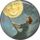 Witch on Broom, 1 Inch Button Badge Pin of Vintage Halloween Image - 0468