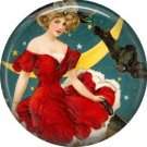 Lady Sitting by Crescent Moon and Bat, 1 Inch Button Badge Pin of Vintage Halloween Image - 0462
