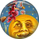 Witch Flying Past Man in Moon, 1 Inch Button Badge Pin of Vintage Halloween Image - 0467