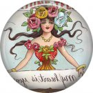 Lady Holding Secret Message, 1 Inch Button Badge Pin of Vintage Halloween Image - 0461
