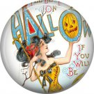 Pumpkin Image in Mirror, 1 Inch Button Badge Pin of Vintage Halloween Image - 0484