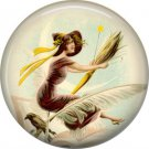Witch with Quill and Crow, 1 Inch Button Badge Pin of Vintage Halloween Image - 0472