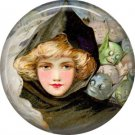 Demons Behind Pretty Lady, 1 Inch Button Badge Pin of Vintage Halloween Image - 0460