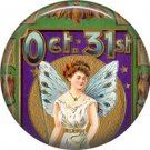 Oct 31 Lady with Wings, 1 Inch Button Badge Pin of Vintage Halloween Image - -465