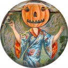 Lady with Pumpkin Head, 1 Inch Button Badge Pin of Vintage Halloween Image - 0459