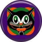 Mid Century Image Halloween Cat, Retro 1 Inch Pinback Button Badge Pin - RH 01