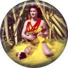 Ukulele Girl in Hawaii, One Inch Vintage Image on Ephemera Lapel Pin Button Badge - 0908