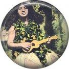 Girl Playing Ukulele, One Inch Vintage Hawaii Image on Ephemera Lapel Pin Button Badge - 0910