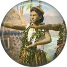 Early 20th Century Hula Dancer, One Inch Vintage Image on Ephemera Lapel Pin Button Badge - 0913