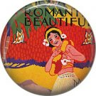 Mid Century Hula Dancer, One Inch Vintage Image on Ephemera Lapel Pin Button Badge - 0914
