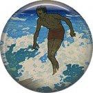 Surfer, One Inch Vintage Hawaiian Image on Ephemera Lapel Pin Button Badge - 0917