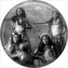 Hula Dancers, One Inch Vintage Hawaiian Image on Ephemera Lapel Pin Button Badge - 0920