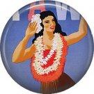 Hula Dancer, One Inch Vintage Hawaiian Travel Poster Image on Ephemera Lapel Pin Button Badge - 0924