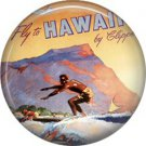 Mid Century Surfer on Travel Poster, One Inch Ephemera Lapel Pin Button Badge - 0971