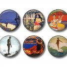 Set of 12 Vintage Hawaiian Images on 1 Inch Pinback Button Badge Pins - Set 4