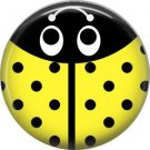 Yellow Ladybug, 1 Inch Button Badge Pinback - 2529