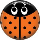 Orange Ladybug, 1 Inch Button Badge Pinback - 2528