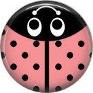 Light Pink Ladybug, 1 Inch Button Badge Pinback - 2526