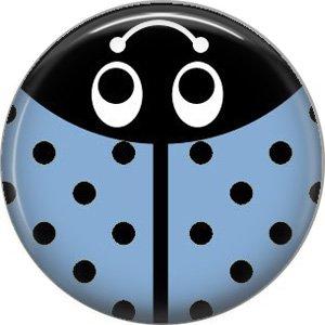 Light Blue Ladybug, 1 Inch Button Badge Pinback - 2524