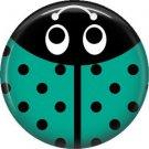 Turquoise Ladybug, 1 Inch Button Badge Pinback - 2522