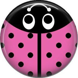 Pink Ladybug, 1 Inch Button Badge Pinback - 2520