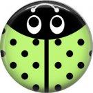Lime Green Ladybug, 1 Inch Button Badge Pinback - 2516