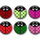 Set of 15 Ladybugs 1 inch Scrapbook Flair Medallions - Set 1