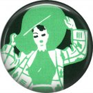 Art Deco Lady in Large Green Hat, 1 Inch Button Badge Pin Back - AD12