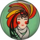 Art Deco Lady Wearing Feather Hat, 1 Inch / 25.4 mm Button Badge Pin Back - AD03