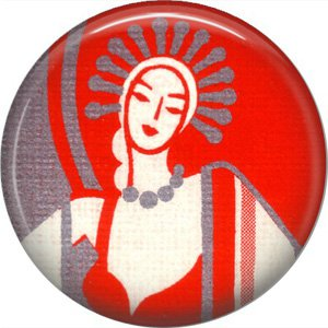 Art Deco Flapper on Red Background, 1 Inch / 25.4 mm Button Badge Pin Back - AD04