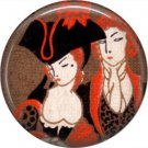 Art Deco Style of Colonial Couple, 1 Inch / 25.4 mm Button Badge Pin Back - AD05