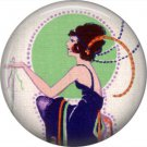 Art Deco Style Flapper, 1 Inch Button Badge Pin Back - AD09