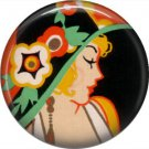 Art Deco Girls, 1 Inch / 25.4 mm Button Badge Pin Back - AD16