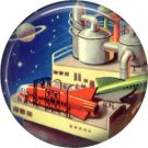 Mid Century View of Space Station, Retro Future 1 Inch Button Badge Pin - 0628
