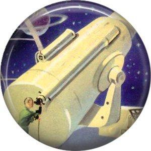 Mid Century View of Giant Telescope, Retro Future 1 Inch Button Badge Pin - 0629