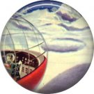 Mid Century View of Moon Travel, Retro Future 1 Inch Button Badge Pin - 0630